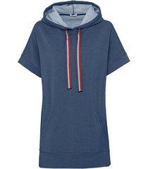 oversized shirt van bio-katoen met capuchon en tunnelkoordje, jeansblauw-gemêleerd 36/38