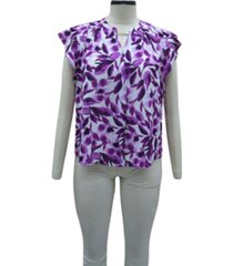alfani petite flutter-sleeve printed top, created for macy's