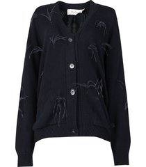 oversized feather detail cardigan navy blue