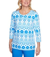alfred dunner petite sea you there geo-print embellished top