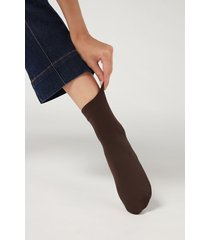 calzedonia 50 denier soft touch socks woman brown size tu