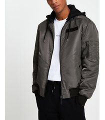 river island mens grey hooded bomber jacket