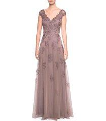 women's la femme embellished tulle & lace a-line gown