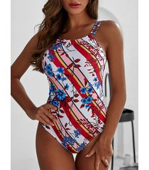 striped floral print padded one-piece swimsuit