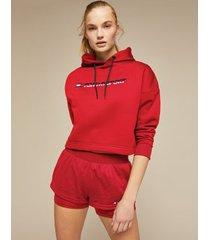 tommy hilfiger women's stretch fleece cropped hoodie cardinal - m