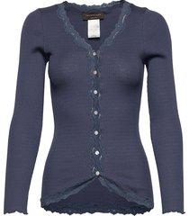 silk cardigan regular ls w/rev vint stickad tröja cardigan blå rosemunde