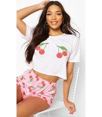 kersen pyjama set met shorts, roze