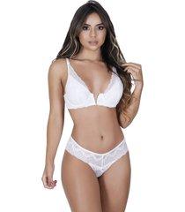 conjunto lingerie estilo sedutor em renda decote v branca - vf49