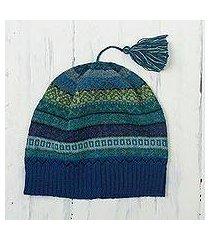 100% alpaca knit hat, 'inca skies' (peru)
