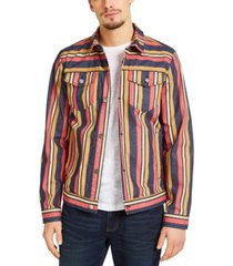 sun + stone men's hermosa stripe trucker jacket, created for macy's
