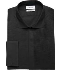 calvin klein infinite non-iron black multi pleated bib slim fit formal dress shirt