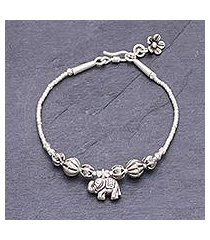 silver beaded charm bracelet, 'elephant amulet' (thailand)