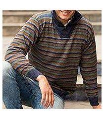 men's 100% alpaca pullover sweater, 'grey heights' (peru)