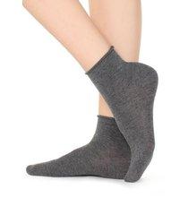 calzedonia extra short flat-knit bandless cotton socks woman dark grey size tu