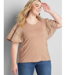 lane bryant women's flutter sleeve top with mix trim 38/40 portabella