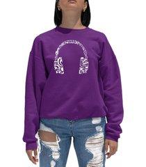 women's word art music note headphones crewneck sweatshirt
