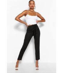 lange geweven strakke broek met sluiting taille, zwart