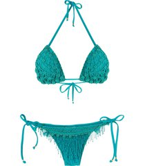amir slama beaded embroidery bikini set - blue