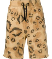 1017 alyx 9sm leopard-print cotton track shorts - neutrals