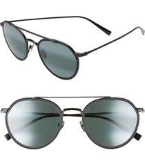 maui jim bowline 53mm polarized round sunglasses in black gloss/black matte at nordstrom