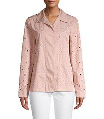lafayette 148 new york women's jaren punctured tech cloth jacket - pink - size m