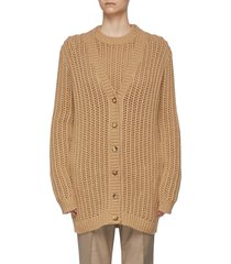 """""""chase' cable crochet cashmere long cardigan"""