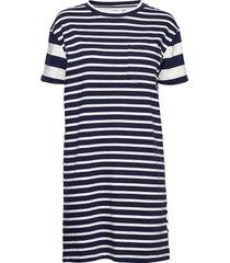 striped short sleeve pocket t-shirt dress korte jurk blauw gap