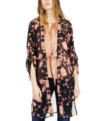 inc tie-dyed ruched-sleeve kimono top, created for macy's