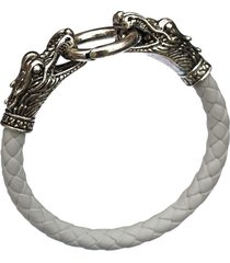 white men bracelets dragon pu leather silver animal chinese zodiac alloy