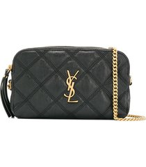 saint laurent becky quilted double-zip pouch - black