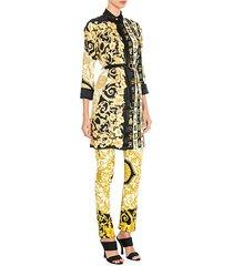 hibiscus print belted shirtdress tunic