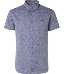 no excess shirt short sleeve 2 coloured linen indigo blue