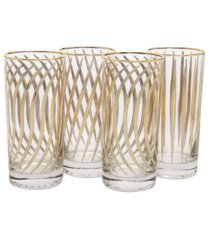 classic touch set of 4 mix and match water tumblers with 24k gold design