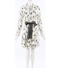 lela rose 2019 dog print shirt dress black/cream/animal print sz: m