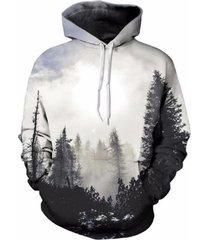 autumn winter men/women thin sweatshirts with hat 3d print trees hooded