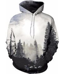 autumn winter men/women thin sweatshirts with hat 3d print trees hooded