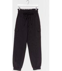 womens drawstring high waist trouser - black