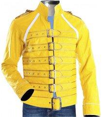 new handmade freddie mercury queen concert yellow leather jacket costume