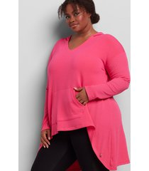 lane bryant women's livi high-low hoodie tunic 18/20 cabaret pink