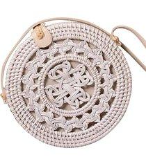 bolsa redonda de palha em rattan artestore branca - kanui