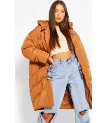 tall lange gewatteerde jas met capuchon en stiksels, rust