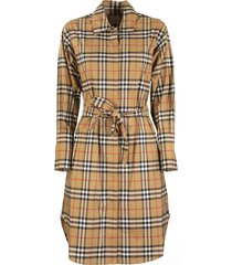 burberry isotto vintage check cotton tie-waist shirt dress