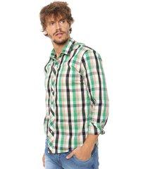 camisa verde laundry ml cook slim cuadros vte.4