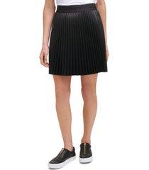 dkny pleated faux-leather mini skirt
