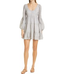 women's cinq a sept rose stripe long sleeve babydoll dress, size 12 - ivory