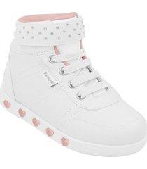 tênis infantil pampili cano alto sneaker com luz feminino