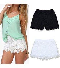 zanzea shorts de encaje de verano de estilo coreano para mujer casual dulce lindo talla grande cintura elástica corta (blanco) -blanco