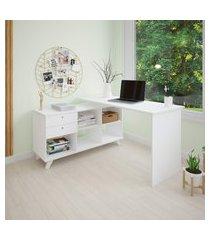 mesa escrivaninha para computador artany gold home office branca