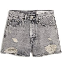 women's rag & bone maya high waist denim shorts, size 33 - black