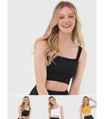 kit 3 croppeds salvatore top faixa comfy malha canelada feminino - feminino